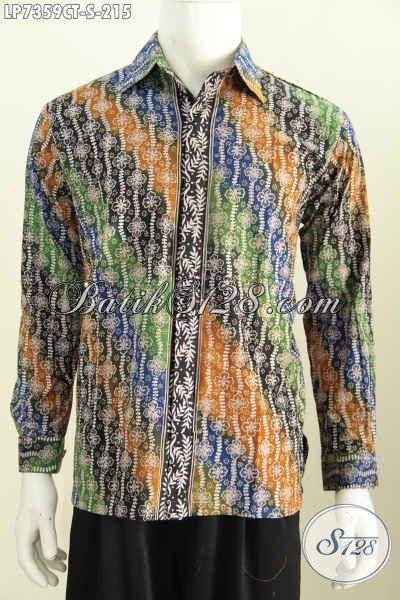 Baju Batik Modern Klasik, Pakaian Batik Halus Trend Motif Masa Kini Model Lengan Panjang Proses Cap Tulis Harga 215K [LP7359CT-S]