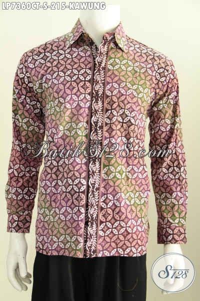Baju Batik Elegan Motif Kawung, Pakaian Batik Solo Klasik Lengan Panjang Halus Warna Trendy Proses Cap Tulis Hanya 200 Ribuan, Size S