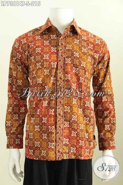 Baju Hem Elegan Motif Bagus Size S, Baju Batik Pria Muda Untuk Tampil Matang Dan Berwibawa Proses Cap Tulis Model Lengan Panjang [LP7361CT-S]