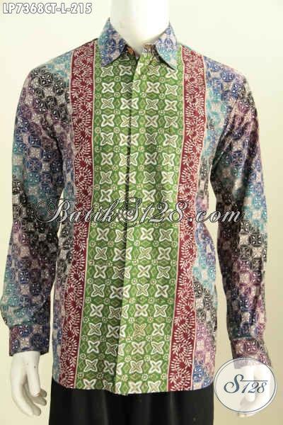 Baju Batik istimewa Motif Kombinasi, Pakaian Batik Solo Berkelas Proses Cap Tulis Untuk Terlihat Makin Mempesona, Size L