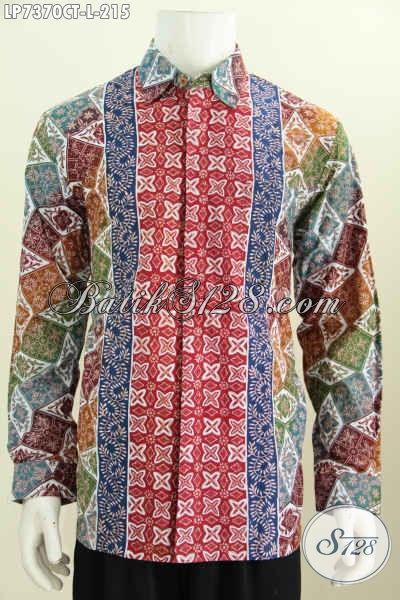 Pusat Busana Batik Solo Online, Sedia Kemeja Batik Modern Lengan Panjang Proses Cap Tulis  Untuk Kerja Dan Pesta [LP7370CT-L]