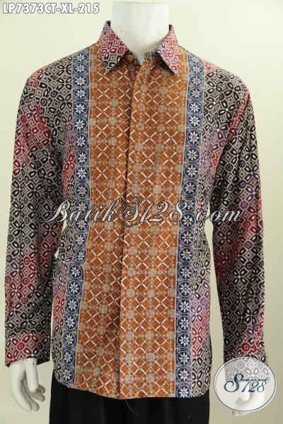 Jual Baju Batik Cap Tulis, Kemeja Batik Motif Kombinasi Model Lengan Panjang Daleman Tidak Pakai Furing Harga 215K [LP7373CT-XL]