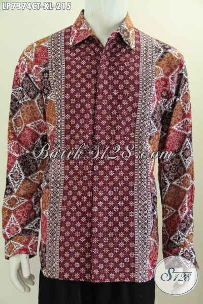 Hem Batik Halus Istimewa Masa Kini Kwalitas Bagus Model Lengan Panjang Motif Kombinasi Buatan Solo Asli Proses Cap Tulis, Size XL