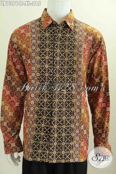 Baju Kerja Batik Cowok Lengan Panjang Terkini, Pakaian Batik Halus Kwalitas Bagus Hanya 215K Proses Cap Tulis, Size XL