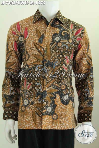 Hem Batik Mewa Motif Klasik Bahan Sutra Twis, Pakaian Batik Pria Khas Pejabat Lengan Panjang Full Furing Proses Tulis Tangan [LP7408SUWTF-M]
