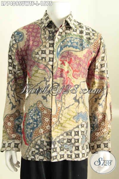 Hem Batik Sutra Mewah, Baju Batik Tulis From Solo, Pakaian Batik Pejabat Lengan Panjang Full Furing Hanya 1.5 Jutaan, Size L
