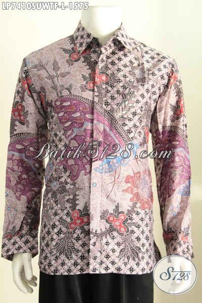 Jual Online Hem Batik Sutra Premium, Kemeja Batik Full Furing Model Lengan Panjang Bahan Halus Untuk Penampilan Lebih Berkwalitas [LP7410SUWTF-L]