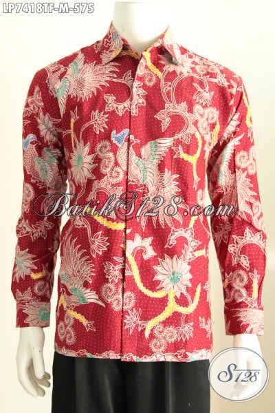 Jual Batik Pria Lengan Panjang Warna Dasar Merah Motif Burung Cocok Untuk  Acara Formal 62044ea048