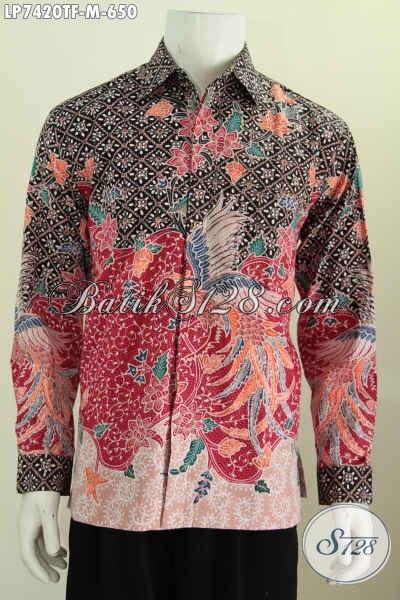 Batik Hem Lengan Panjang Premium, Busana Batik Full Furing Bahan Halus Proses Tulis Asli Buatan Solo Untuk Pria Muda Terlihat Istimewa [LP7420TF-M]