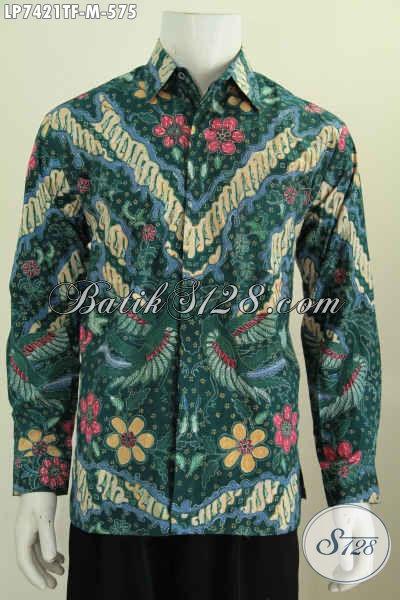 Baju Hem Batik Premium Warna Hijau, Baju Batik Halus Lengan Panjang Pake Furing Motif Elegan Tulis Asli Harga 575 Ribu [LP7421TF-M]