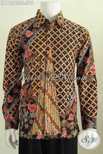 Sedia Baju Batik Lengan Panjang Premium, Hem Batik Modis Full Furing Motif Elegan Buatan Solo Proses Tulis Tangan 575K [LP7424TF-L]