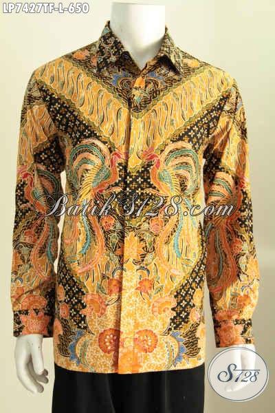 Jual Baju Batik Tulis Online Lengan Panjang Mewah, Produk Pakaian Batik Full Furing Motif Terkini Yang Bikin Pria Terlihat Mempesona [LP7427TF-L]
