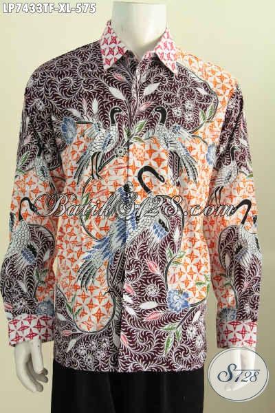 Jual Baju Batik Premium Mewah, Pakaian Batik Full Furing Model Lengan Panjang Motif Tulis Asli Untuk Lelaki Karir Sukses, Size XL