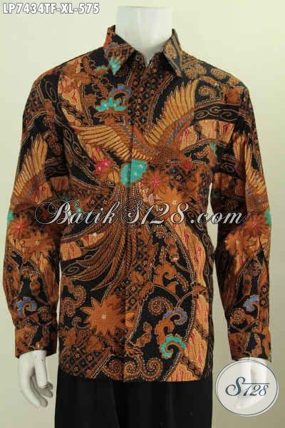 Sedia Kemeja Batik Klasik Lengan Panjang Size XL, Busana Batik Premium Bahan Adem Proses Tulis Asli Dari Solo [LP7434TF-XL]