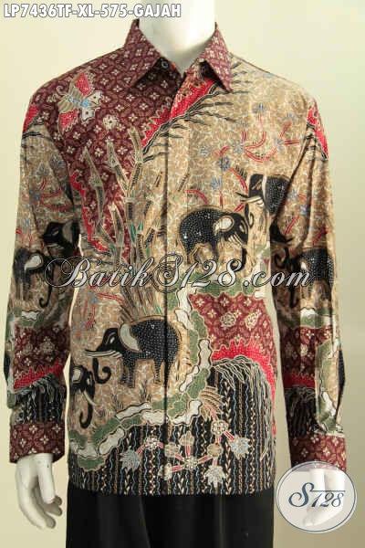 Baju Batik Istimewa Proses Full Tulis, Kemeja Batik Premium Motif Gajah Model Lengan Panjang Di Lengkapi Furing [LP7436TF-XL]