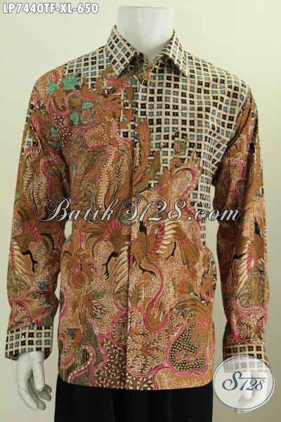 Batik Hem Mewah Lengan Panjang Cocok Buat Rapat Dan Acara Formal, Berbahan Halus Motif Tulis Asli Daleman Pake Furing, Size XL