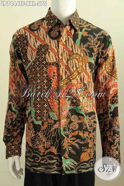 Hem Batik Mewah Lengan Panjang Full Furing, Produk Busana Batik Istimewa Bahan Adem Motif Klasik Proses Tulis Daleman Pakai Furing Untuk Terlihat Lebih Gagah [LP7444TF-XXL]