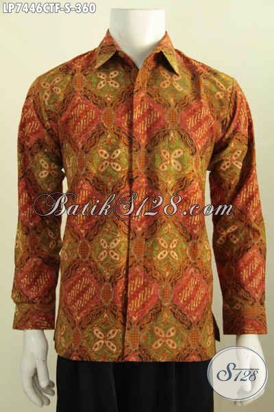 Batik Hem Klasik Mewah Proses Cap Tulis, Busana Batik Elegan Untuk Pria Muda Pake Furing, Tampil Lebih Istimewa [LP7446CTF-S]