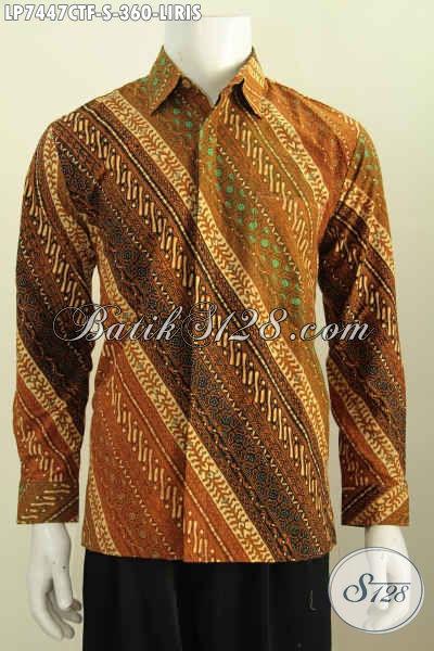 Kemeja Batik KlasikMotif Liris Proses Cap Tulis, Busana Batik Pria Muda Penunjang Penampilan Lebih Elegan Daleman Di Lengkapi Furing [LP7447CTF-S]