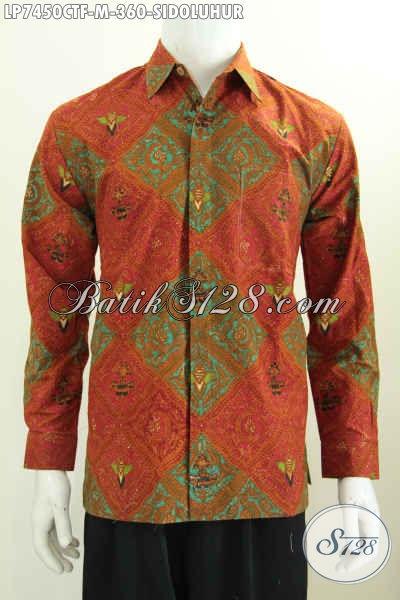Batik Hem Klasik Sidoluhur Buatan Solo Model Lengan Panjang Full Furing, Baju Batik Cap Tulis Istimewa Untuk Rapat [LP7450CTF-M]