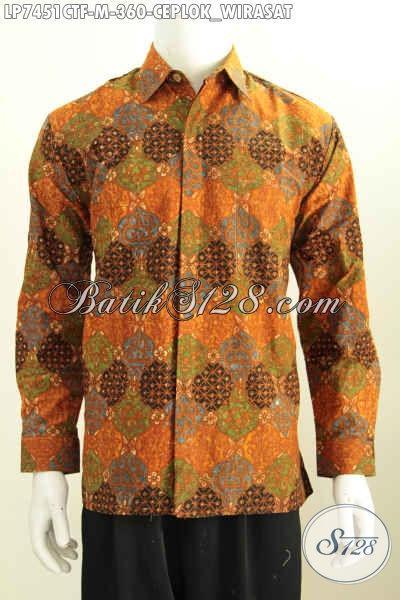 Jual Hem Batik Lengan Panjang Full Furing Motif Ceplok Wirasat, Baju Batik Klasik Cap Tulis Harga 300 Ribuan [LP7451CTF-M]