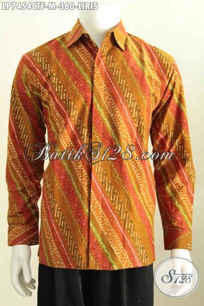 Jual Kemeja Batik Lengan Panjang Full Furing Istimewa Buatan Solo Motif Klasik Liris Proses Cap Tulis, Di Jual Online 360 Ribu, Size M