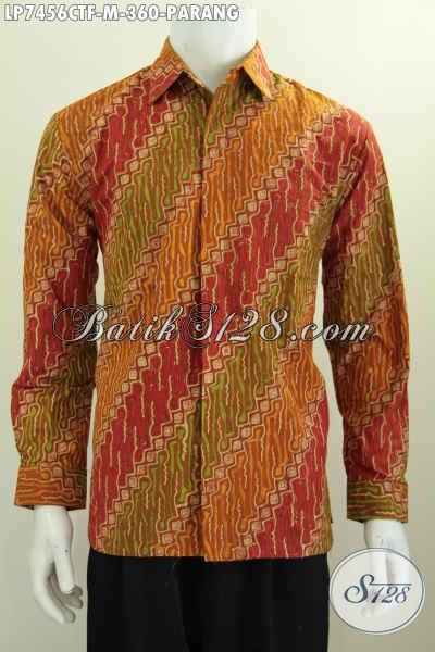 Jual Online Baju Hem Batik Lengan Panjang Mewah Full Furing Motif Parang Cap Tulis, Cocok Untuk Acara Formal Tampil Gagah [LP7456CTF-M]