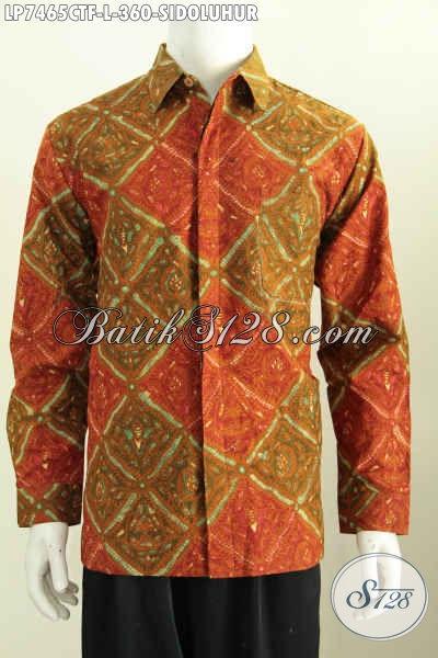 Pusat Baju Batik Online, Sedia Kemeja Batik Kwalitas Premium Proses Cap Tulis Model Lengan Panjang Bahan Adem Daleman Full Furing [LP7465CTF-L]