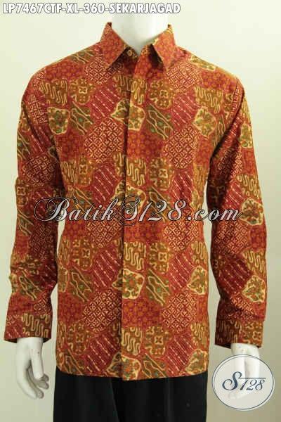 Produk Pakaian Batik Solo Untuk Pria Masa Kini, Baju Batik Klasik Sekar Jagad Bahan Halus Proses Cap Tulis Lengan Panjang Full Furing Tampil Makin Istimewa [LP7467CTF-XL]