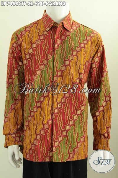 Baju Pria Batik Lengan Panjang Kwalitas Bagus, Busana Motif Parang Cap Tulis Daleman Full Furing Tampil Elegan Dan Mewah [LP7468CTF-XL]