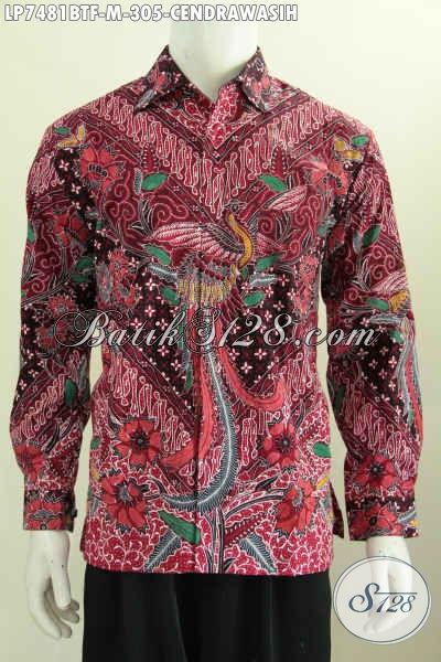 Baju Batik Elegan, Hem Batik Kwalitas Bagus Model Lengan Panjang Full Furing Motif Cendrawasih Proses Kombinasi Tulis, Cocok Buat Ke Kantor [LP7481BTF-M]