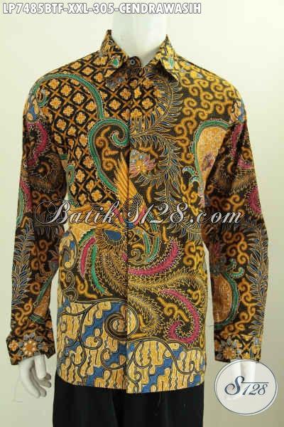 Batik Hem Lengan Panjang Bagus Halus Full Furing Motif Cendrwasih Proses Kombinasi Tulis Untuk Kerja Dan Rapat [LP7485BTF-XXL]