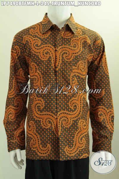 Baju Batik Mewah Lengan Panjang Kombinasi Tulis Motif Klasik Truntum Kuncoro Bahan Adem Buatan Solo Asli Lengan Panjang Full Furing [LP7490BTFMH-XL]