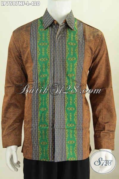 Baju Tenun Mewah Halus Lengan Panjang Warna Elegan Motif Terkini Daleman Full Furing, Di Jual Online 420K [LP7587NF-L]