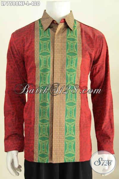 Hem Tenun Merah Kwalitas Premium Motif Bagus Model Lengan Panjang Pake Furing Pria Terlihat Tampan Mempesona [LP7588NF-L]