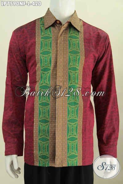 Baju Tenun Premium Kwalitas Istimewa, Hem Tenun Mewah Untuk Tampil Gagah Dan Berkelas Model Lengan Panjang Pake Furing [LP7590NF-L]