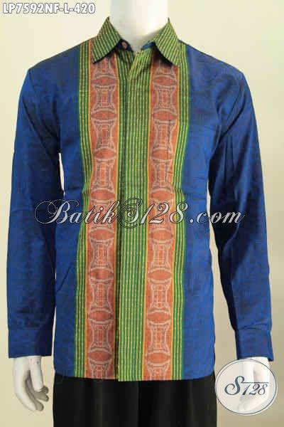 Online Shop Busana Tenun, Sedia Hem Lengan Panjang Mewah Warna Biru Motif Berkelas Yang Bikin Lelaki Tampil Berkarakter [LP7592NF-L]
