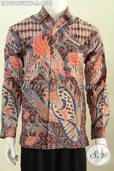 Jual Pakaian Batik Super Premium, Berbahan Sutra Halus Motif Mewah Proses Tulis Lengan Panjang Full Furing [LP7599SUWTF-M]