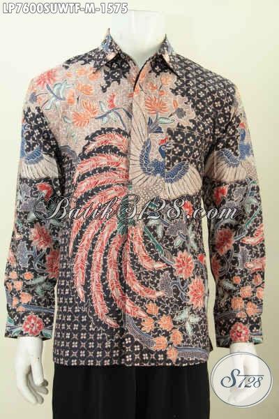 Baju Lengan Panjang Mewah Dan Mahal, Pakaian Batik Sutra Halus Lengan Panjang Full Furing Tampil Makin Sempurna [LP7600SUWTF-M]
