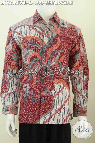 Agen Baju Batik Sutra Terpercaya, Sedia Kemeja Lengan Panjang Mewah Full Furing Halus Proses Tulis 1.5 Jutaan [LP7601SUWTF-M]