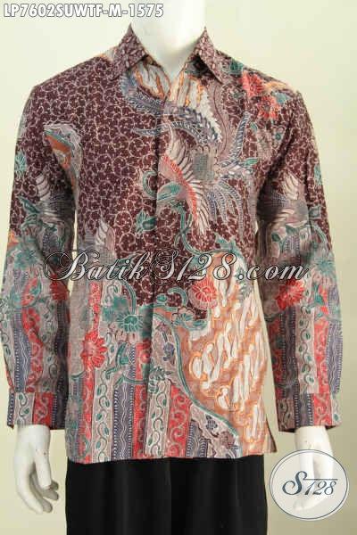 Produk Kemeja Batik Mewah Terkini, Berbaha Sutra Premium Model Lengan Panjang Motif Tulis Asli Daleman Full Furing [LP7602SUWTF-M]