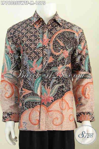 Produk Kemeja Batik Sutra Mewah Lengan Panjang Full Furing Buatan Solo  Motif Berkelas Tulis Tangan [LP7603SUWTF-M]