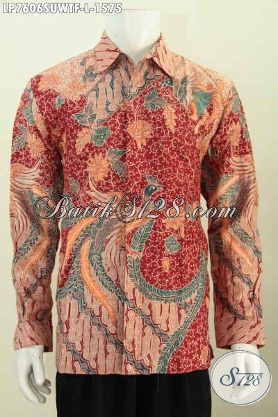 Baju Batik Super Mewah Lengan Panjang Harga Mahal, Berbahan Sutra Twis Lengan Panjang Pake Furing Pria Tampil Makin Berwibawa [LP7606SUWTF-L]