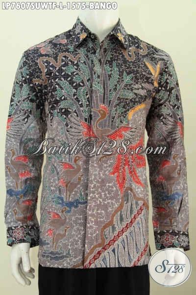 Baju Batik Sutra Motif Bango, Kemeja Batik Super Premium Proses Tulis Model Lengan Panjang Full Furing, Pas Buat Rapat [LP7607SUWTF-L]