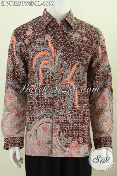 Baju Kemeja Batik solo Bahan Sutra Spesial Buat Lelaki Dewasa Terlihat Gagah Berwibawa, Model Lengan Panjang Full Furing Motif Terbaru Tulis Tangan [LP7612SUWTF-XL]
