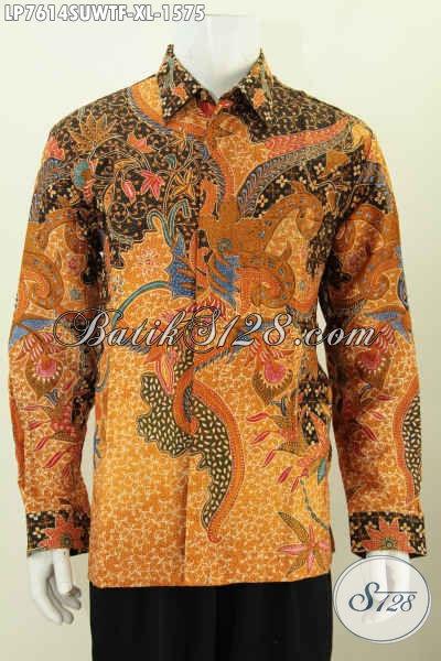 Online Shop Produk Batik Paling Up To Date, Sedia Kemeja Sutra Lengan Panjang Size XL Buat Lelaki Dewasa Tampil Gagah Menawan [LP7614SUWTF-XL]