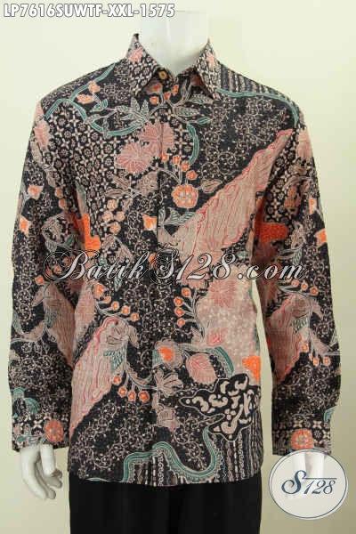 Baju Batik Formal Mewah Lengan Panjang Bahan Sutra Motif Terkini Proses Tulis Daleman Full Furing, Cocok Buat Rapat [LP7616SUWTF-XXL]