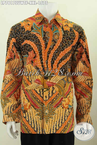 Kemeja Batik Sutra Halus Premium, Kemeja Lengan Panjang 3L Buat Lelaki Gemuk Daleman Di Lengkapi Furing Harga Mahal [LP7617SUWTF-XXL]