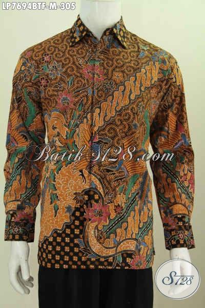 Baju Kemeja Batik Terkini, Hadir Dengan Desain Berkelas Motif Mewah Kombinasi Tulis Lengan Panjang Pake Furing 305K [LP7694BTF-M]