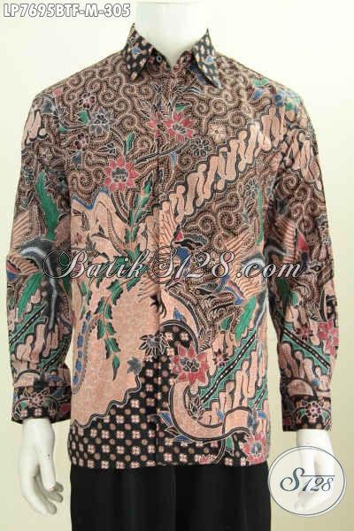 Jual Kemeja Batik Murah Kwalitas Mewah, Baju Batik Elegan Full Furing Model Lengan Panjang Asli Dari Solo, Cocok Buat Acara Resmi [LP7695BTF-M]